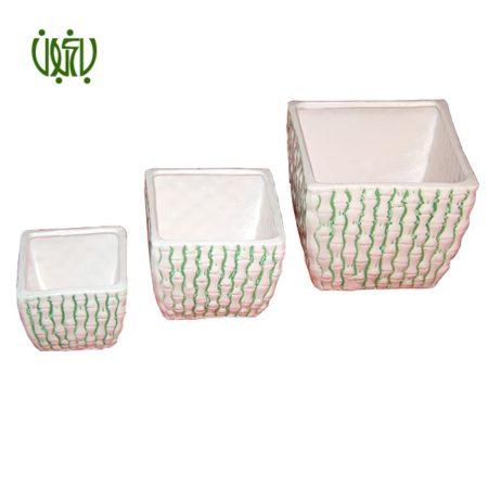 گلدان سرامیکی مربعی طرح دار  گلدان سرامیکی مدل 10-50 goldan seramiki bambooie 2 450x450