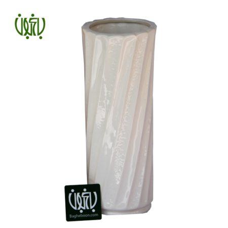 گلدان سرامیکی طرح دار استوانه ای شکل سفید  گلدان سرامیکی  مدل کنیا 2 seramic ostovaneie sefid small 1 450x450