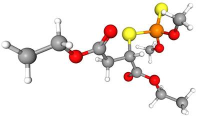 سم مالاتیون (Malathion) - ساختار مولکولی سه بعدی